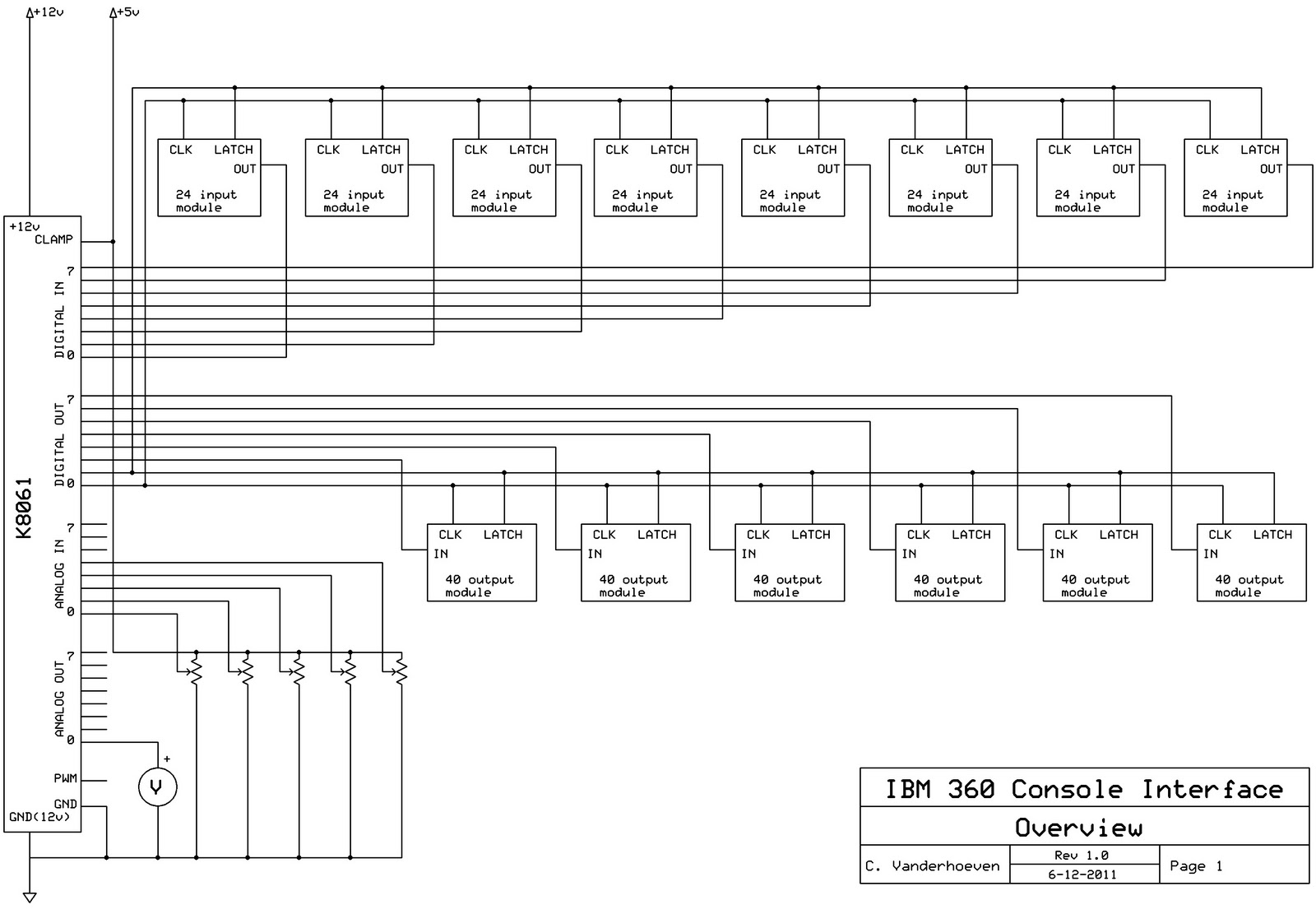 Schematics For Ibm 360 Console Panel Interface Vaxbarn Led Voltmeter Schematic Five Analog Inputs Are Used To Record The Setting Of Potentiometers And One Output Is Drive